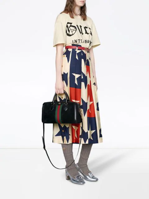 Gucci Ophidia Patent Leather-Trimmed Suede Tote In Black
