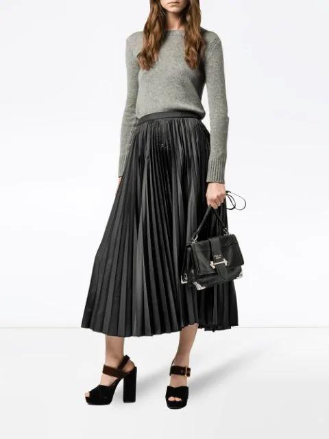 Prada Large Soft Cahier Shoulder Bag In Black