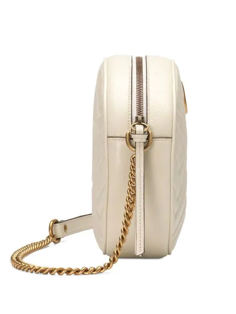 Gucci Mini Marmont 2.0 Leather Canteen Shoulder Bag - White