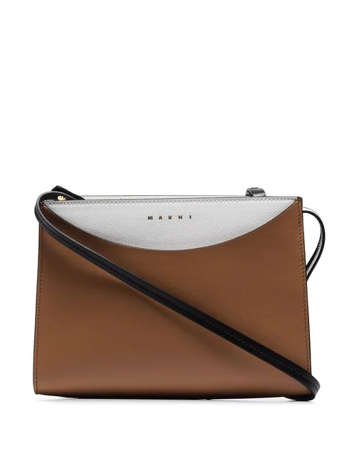 Camel Law Leather Crossbody Bag In Neutrals