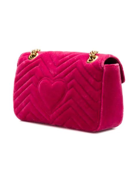 Gucci Small Gg Marmont 2.0 Matelasse Velvet Shoulder Bag - Pink