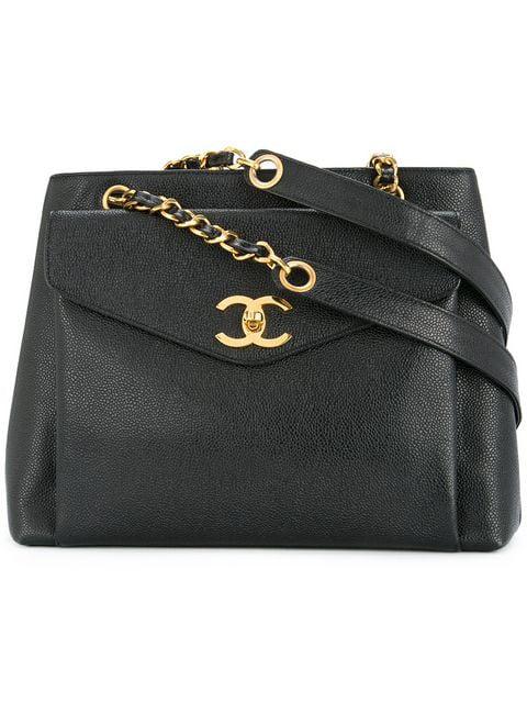 Chanel Pre Owned Cc Logo Handbag Black