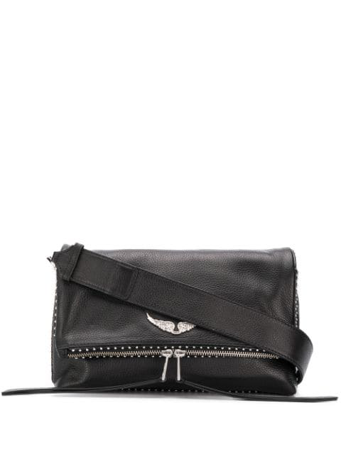 Zadig Voltaire Rocky Foldover Crossbody Bag In Black Modesens