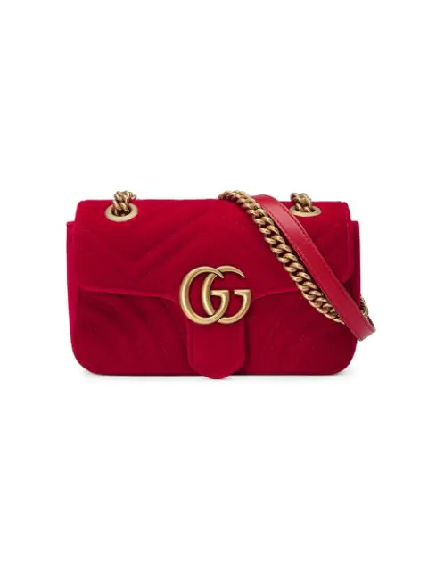 a63292ea Gucci Gg Marmont Small Quilted-Velvet Cross-Body Bag In Red | ModeSens
