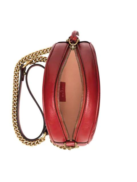 GUCCI RED GG MARMONT MINI LEATHER ROUND SHOULDER BAG