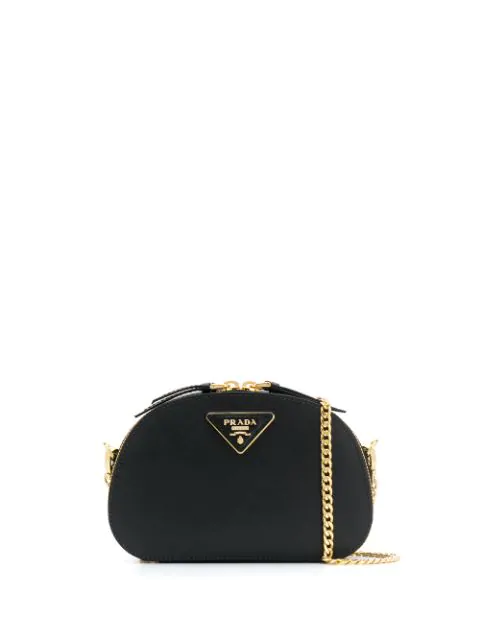 Prada Odette Saffiano Leather Bag In Black
