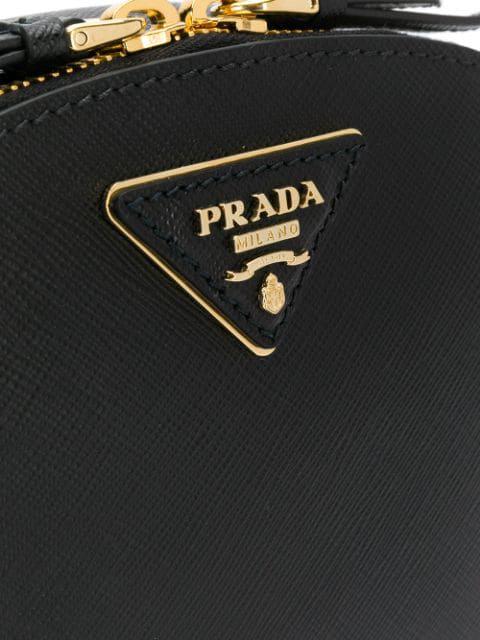 Prada Odette Saffiano Leather Bag In Black