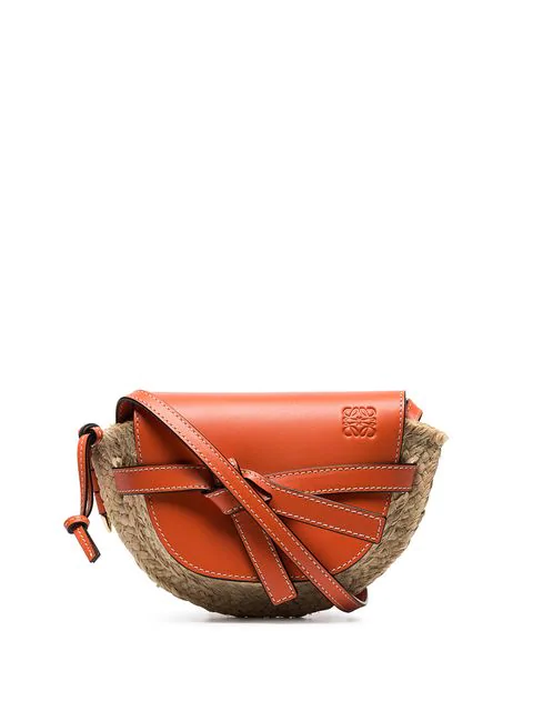 ba6fbed74d Loewe Gate Mini Leather & Raffia Crossbody Bag - Orange | ModeSens