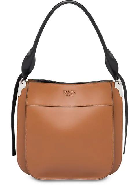 Prada Medium Margit City Leather Bag In Brown
