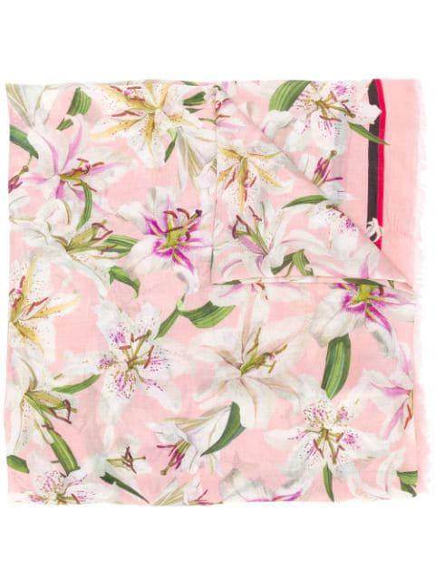 Dolce & Gabbana Lilium Print Cashmere Blend Scarf In Pink