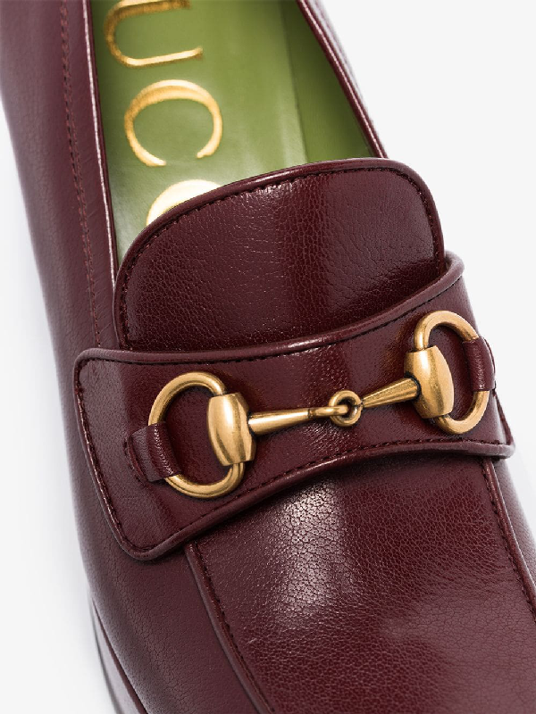 Gucci Leather Platform Loafer With Horsebit In Red