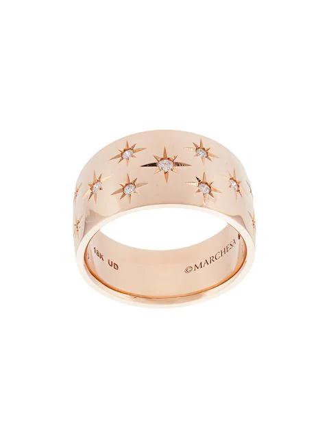 fa7b10ad4ab2f Marchesa 18Kt Rose Gold Diamond Star Wide Wedding Band
