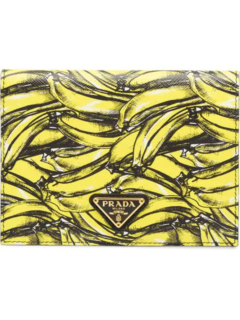 6a2e9a1f Banana-Print Saffiano-Leather Wallet in Yellow