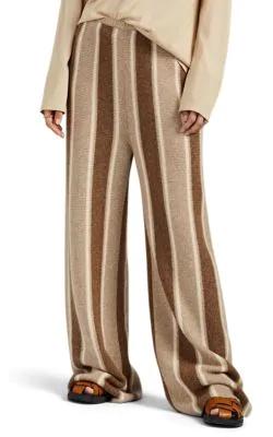 THE ROW CULOTTA STRIPED CASHMERE-SILK WIDE-LEG PANTS,00505063432299