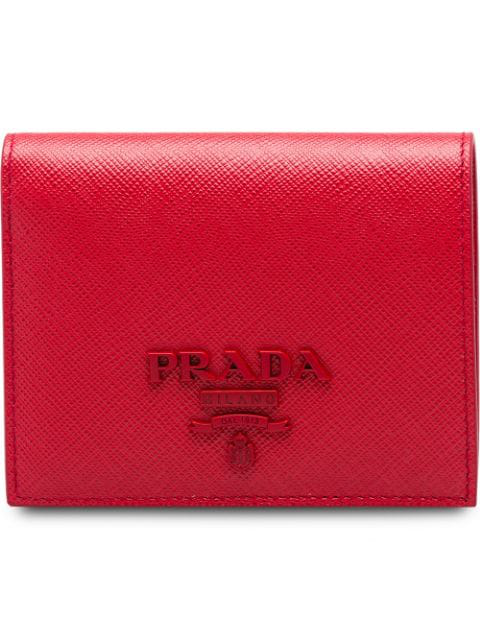 7195c57613 Prada Small Saffiano Leather Wallet - Red