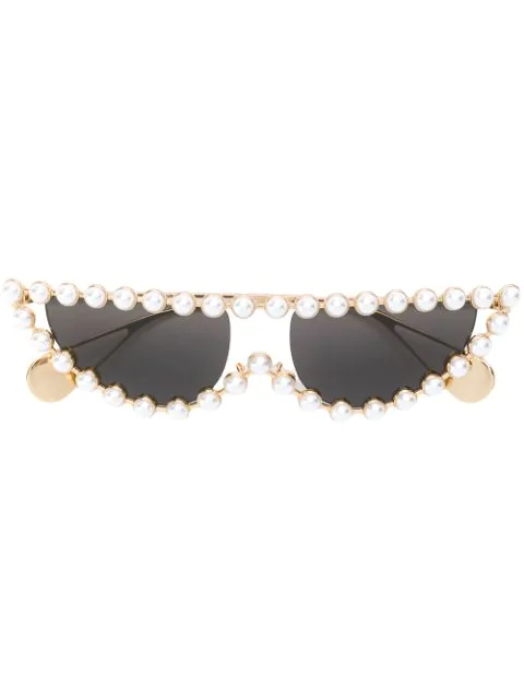 1e03675a1945 Gucci 53Mm Crystal Embellished Cat Eye Sunglasses - Gold/ Pearls W/ Solid  Grey