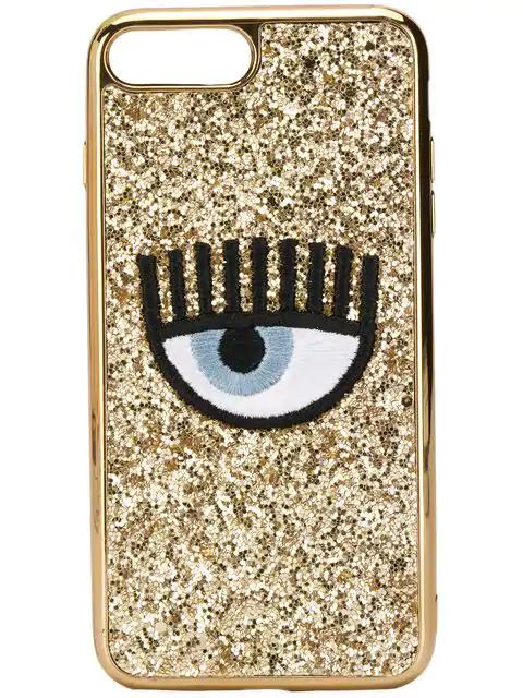 hot sale online 4228e 5551e Chiara Ferragni Embroidered Eye Phone Case - Gold