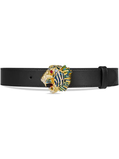 GUCCI LEATHER BELT WITH TIGER HEAD