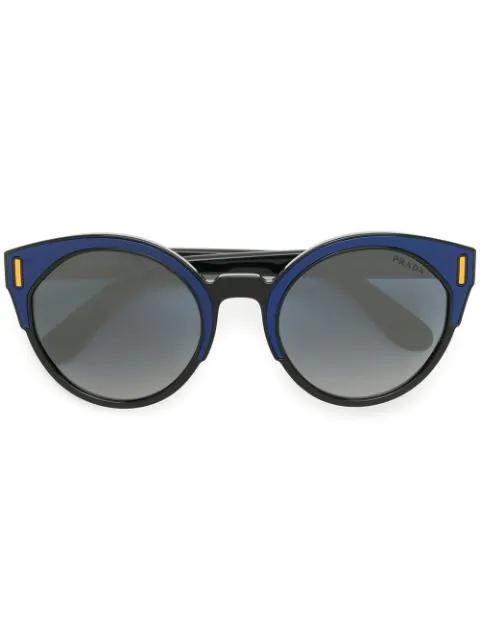 Rounded Eye Black Oversized Cat Sunglasses Prada Eyewear H92IWED
