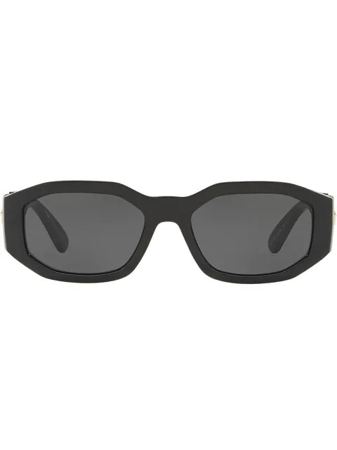 26f1f1598703 Versace Chunky Rectangle Sunglasses W/ Logo Disc Arms In Black ...