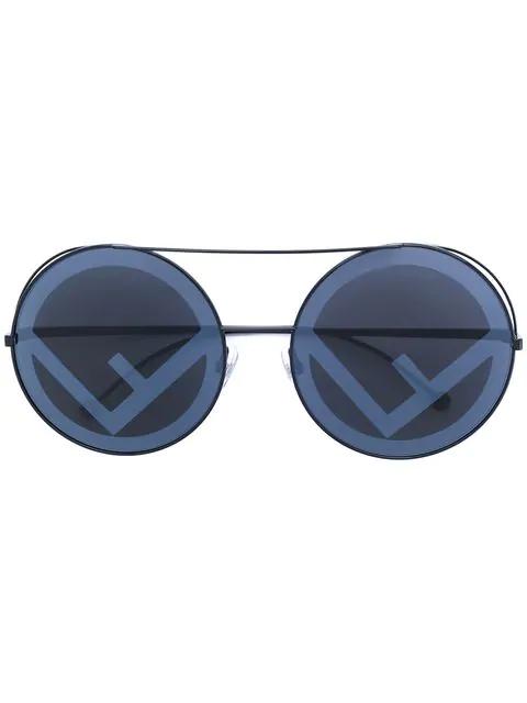 90e961bf Women's Mirrored Oversized Logo Print Lens Round Sunglasses, 62Mm in Black