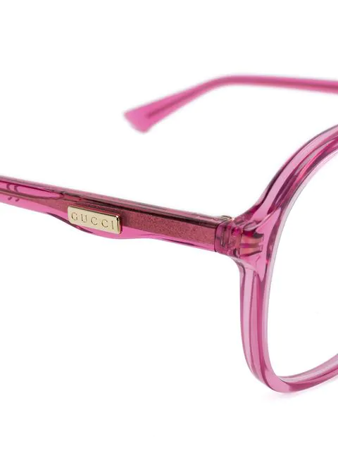 Gucci Eyewear Round Oversized Glasses - Pink