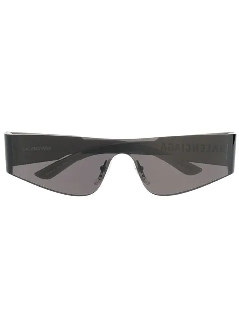 Balenciaga Rectangular Black Sunglasses In 001