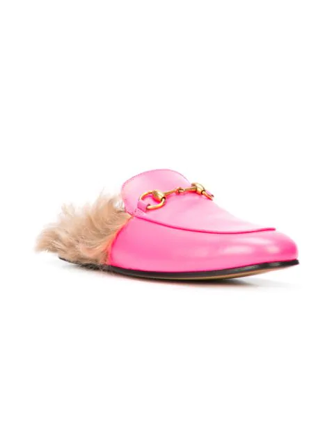 Gucci Men's Princetown Fur-Lined Fluorescent Leather Slippers In Pink