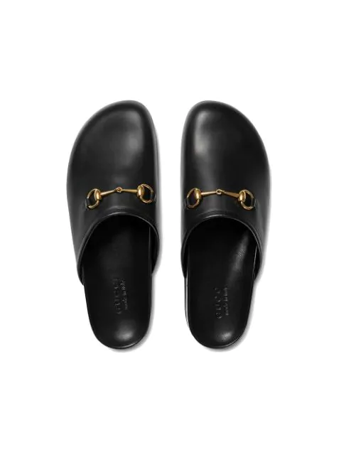 Gucci Horsebit Leather Backless Loafers In Black