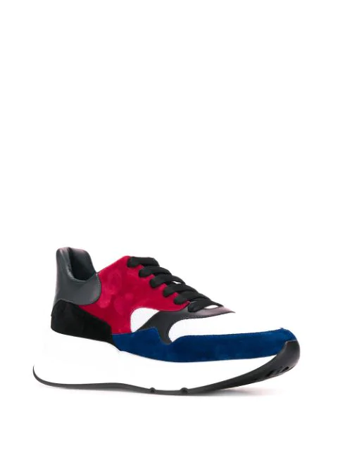 Alexander Mcqueen Larry Suede And Leather Sneakers In 9066 Black Blue Red White