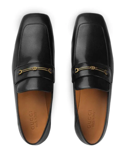Gucci Leather Loafer With Horsebit And DoubleG In Black