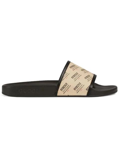 Gucci Sandals Supreme Canvas Logo Print Beige Black In 9360 Beige