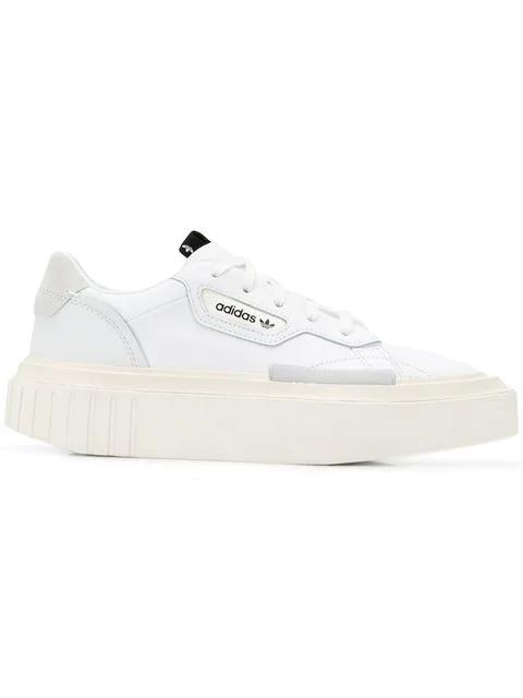 a00128aa Women's Hypersleek Pointed Toe Leather Platform Sneakers in White