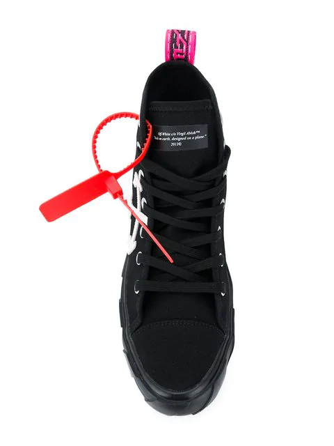 Off-White High-Top Cotton-Canvas Arrow Sneakers  In Black White