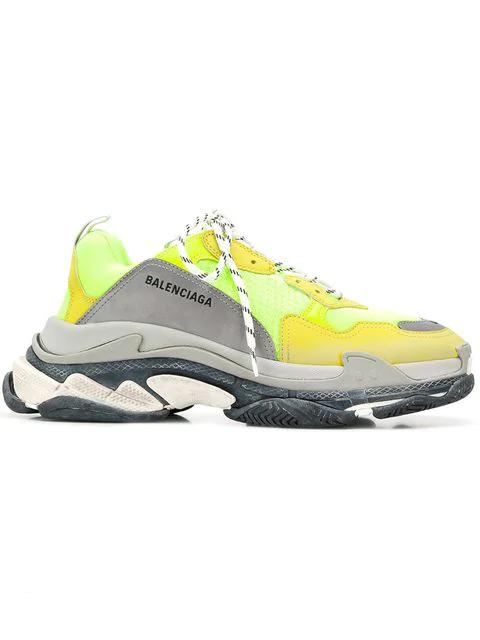 Balenciaga Men's Triple S Mesh & Leather Sneakers, Yellow In 7320 Yellow