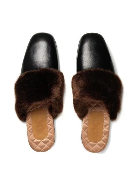 GUCCI LEATHER AND FAUX FUR SLIPPER,5242979RO3012851919