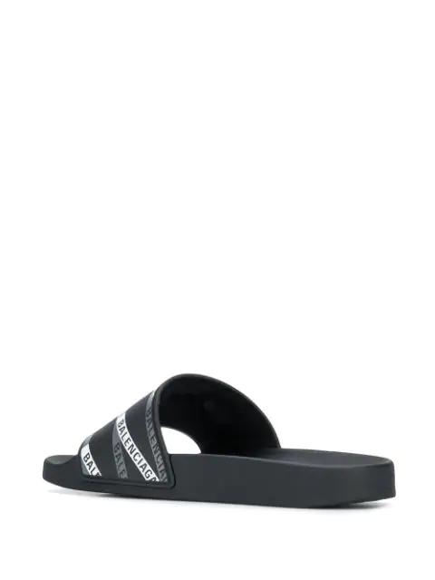 Balenciaga Logo Grain Geometric Rubber Slides In Black