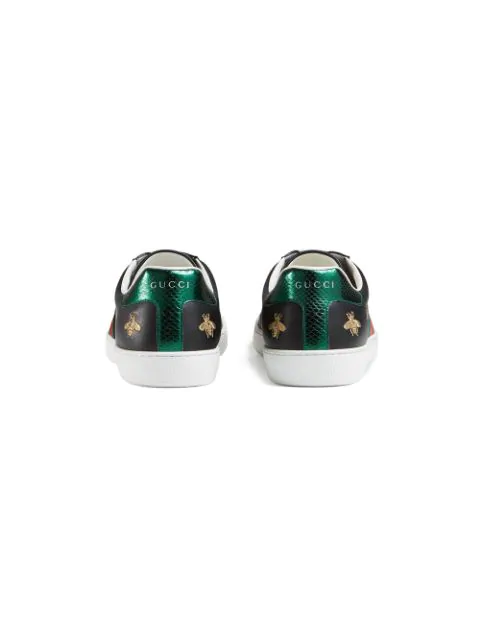Gucci New Ace Bee-Embroidered Leather Trainers In Black