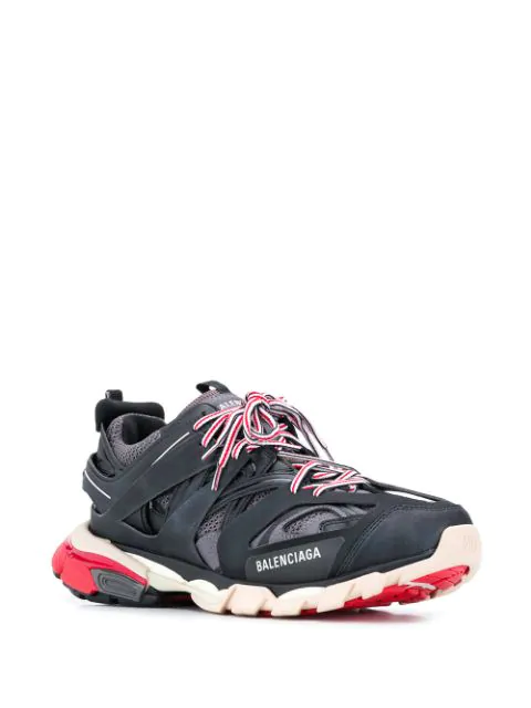 Balenciaga Low-Top Sneakers Track Nylon Polyester Polyurethane Logo Black Grey Red In 1002 Black