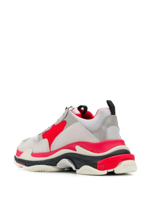 Balenciaga Men's Triple S Mesh & Leather Sneakers In Grey