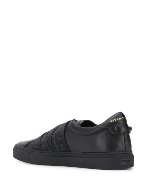 Givenchy Urban Street Logo-Jacquard Leather Slip-On Sneakers In Black