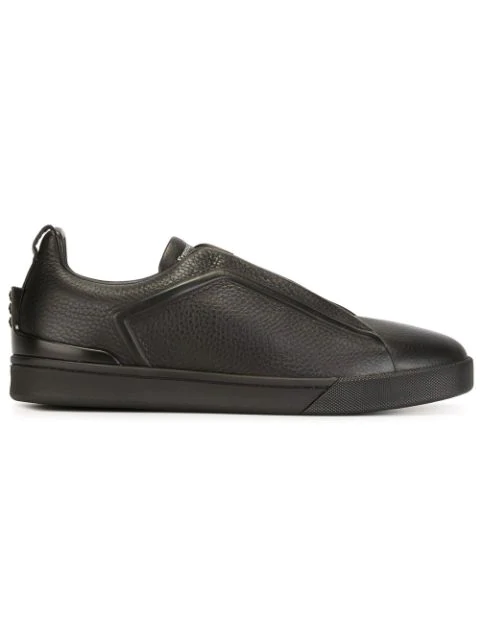 9ab666bc Triple Stitch Full-Grain Leather Slip-On Sneakers in Black