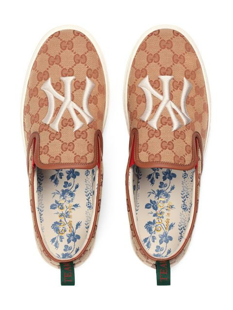 Gucci Men's Slip-On Sneaker With Ny Yankees Patch&Trade; In Brown