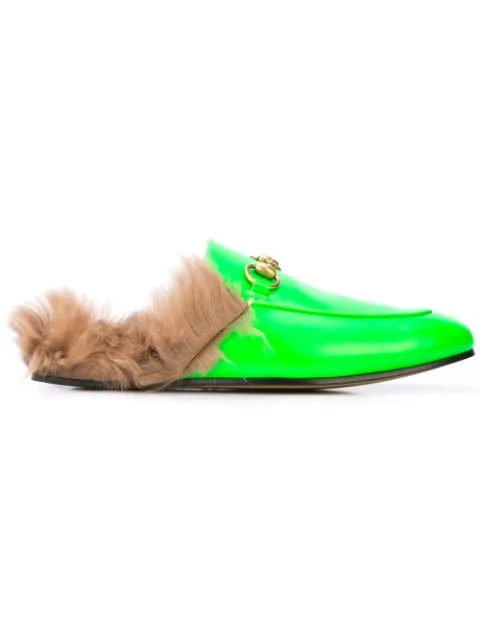 Gucci Men's Princetown Fur-Lined Fluorescent Leather Slippers In Green