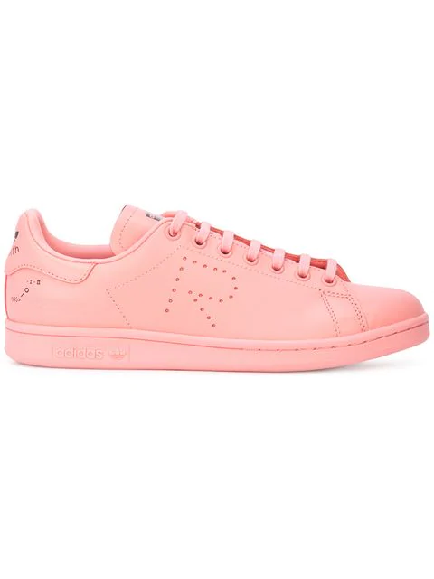 check out 3d885 3ec6b Pink X Raf Simons Stan Smith Leather Sneakers in Tactile Rose F17/Bliss  Pink S13/Ftwr White