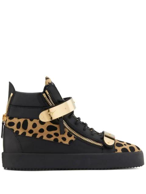 34a0cbe2b65 Giuseppe Zanotti Animal Print Calf-Hair Double Bar High-Top Sneakers ...