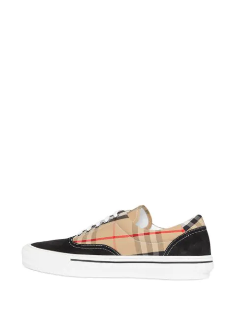 Burberry Men's Wilson Vintage Check Cotton & Suede Sneakers In Black