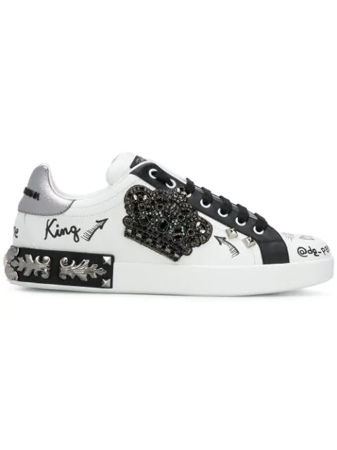 Leather Embellished Portofino Sneakers In White