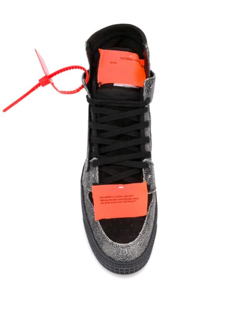 Off-White Off-Court Textured-Leather, Suede And Canvas High-Top Sneakers In Black