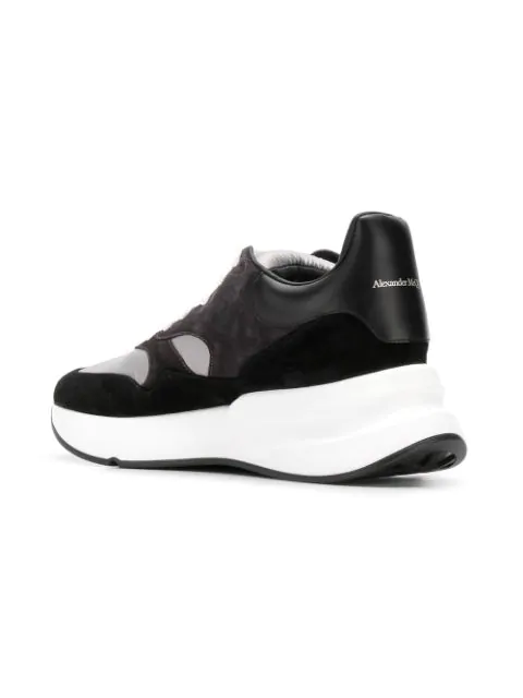 Alexander Mcqueen Panelled Wedge Sole Leather And Suede Trainers In 1002 Black
